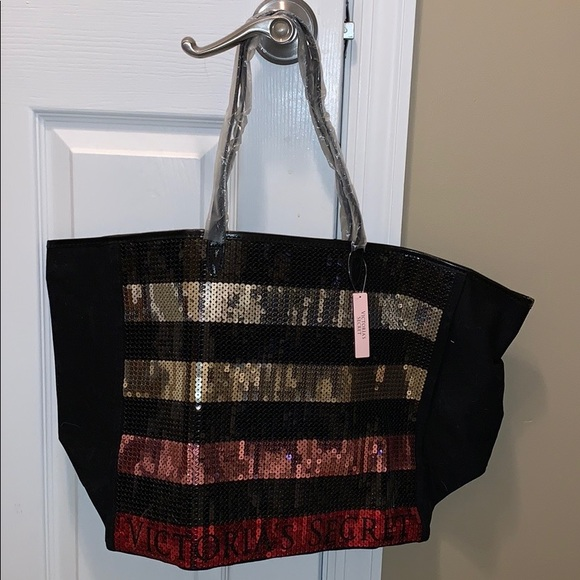 Victoria/'s Secret Bling Stripe Sequin Carryall Tote W Mini Bag Set Black//Red NWT